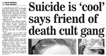 Suicide is 'cool' says friend of death cult gang